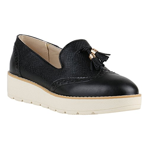 Damen Loafers Quasten Glitzer Slipper Profilsohle Dandy Geek Schwarz Metallic