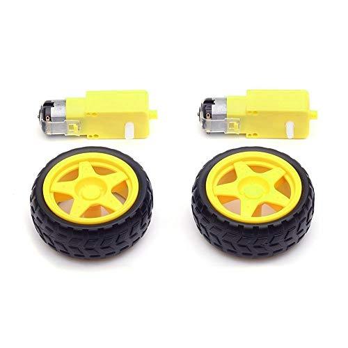 UMTMedia® Smart Robot Car Plastic Tire Tyre Wheel w/DC 6V Gear Motor Set For Arduino (4 PCS, 6V Gear Motor + Tyre/Wheel Set)
