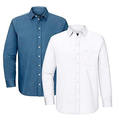 JAN VANDERSTORM Herren Doppelpack Hemd ALDEMAR in Übergröße Große Größen Plus Size Big Size XL XXL XXXL 4XL 5XL 6XL 7XL 8XL 9XL 10XL Blau
