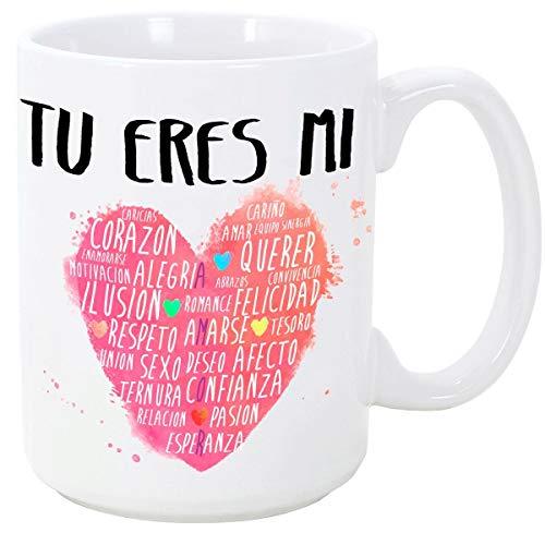 MUGFFINS Taza para Regalar a Enamorados/San Valentín - Tú Eres mi corazón - cerámica 350 ml - Tazas con Frases de Regalo para Novios/Novias. Aniversarios