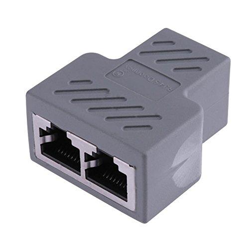 Splitter Adapter Ethernet Buchse Power Adapter Socket-Erweiterung RJ451bis 2Dual LAN für PCB Board Schweißen für iPhone iPad, Samsung, GPS, Dashcam, Radar Detektor und mehr grau