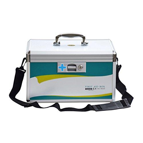 Mecotech Medizinbox Abschließbar, 14 Zoll Erste Hilfe Koffer Medizin-Box Hausapotheke Medikamentenbox, 365 x 205 x 225 mm