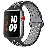 ATUP Compatible con para Apple Watch Correa de 38mm 40mm 42mm 44mm, Correa de Reloj de Repuesto de Silicona Suave Compatible con para iWatch Serie 1/2/3/4 (09 Black&Grey, 42mm/44mm-M/L)