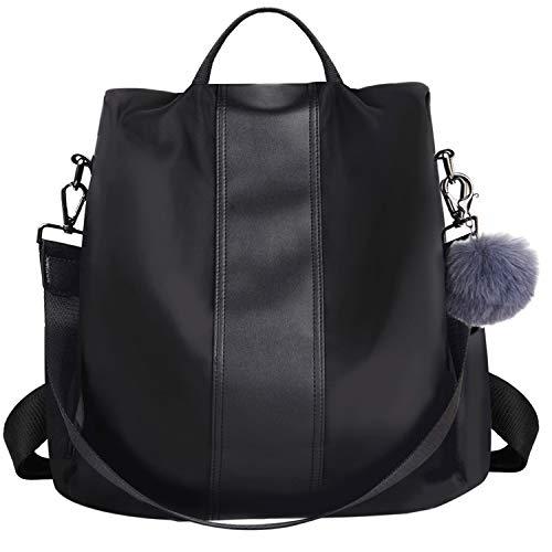 COOFIT Zaino Donna, Zaino Donna Scuola Casual furto Borsa a Zainetto Moda Borse a Spalla Zaino Backpack per Scuola Viaggio Lavoro (nero)