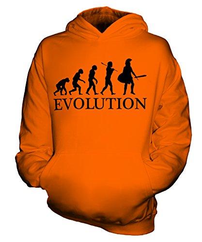taner Evolution Des Menschen Unisex Kinder Jungen/Mädchen Kapuzenpullover, Größe 9-11 Jahre, Farbe Orange (Neun Menschen Kostüm)