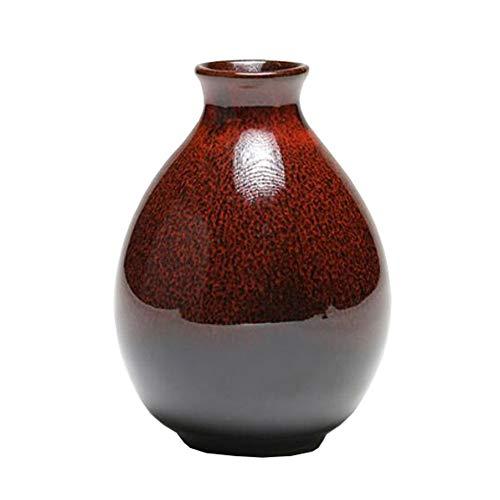 Mini chinesische Keramik Blumenvase Bud Vase Weinflasche, ideales Geschenk für Home Office, Dekor, Tischvasen, Bücherregal Ornamente Flaschen, Karamell