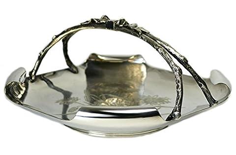 Ästhetische Bewegung antike Schale mit Blumen Silber überzogene Metallflocken Serving Küche des 19. Jahrhunderts Englisch LS