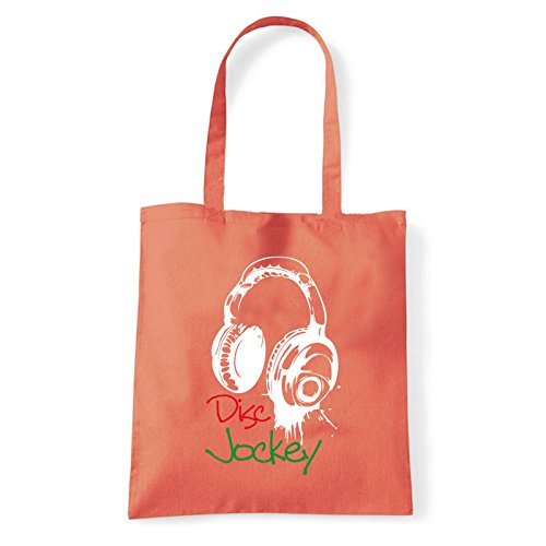 Art T-shirt, Borsa Shoulder disc-jockey-cuffie Corallo