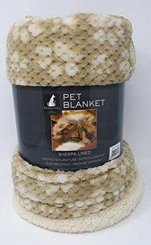Pet Perfect Collection Hellbraun und Creme mit Hundemotiv Waffel Textur mit Sherpa Gefüttert Pet Decke