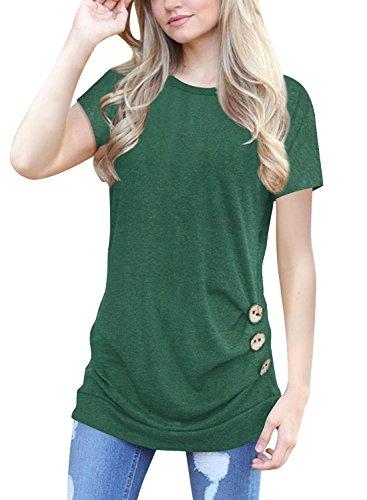 Aking Damen Sommer T-Shirt Kurzarm Lose Knopfleiste Bluse Tunika Oberteil Casual Tops, Grün, L