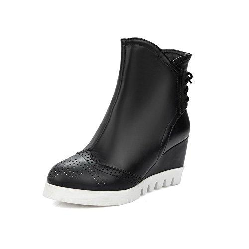 AllhqFashion Damen Ziehen auf Rein Niedrig-Spitze Stiefel mit Reißverschluss, Schwarz, 39