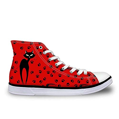 MLULPQ& Lovely Cat Hi Tops Plimsolls Women Girls Canvas Sneakers Flat Designs Halloween red+Footprint UK 4