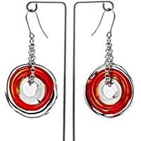 Genuine Murano glass earrings in red - directly from the artist | Stainless steel chain and hanger | Unique glass jewellery personalised | Elegant and handcrafted | Charming Birthday Gift | Wonderful Mother's Day gift for your wife, mother, mom or om