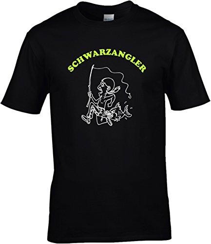Fun Shirt Herren Schwarzangler Sprüche Angeln Angelsprüche Schwarz