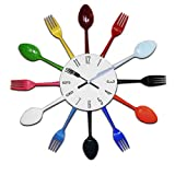 Design Küchenuhr Besteck Uhr Wanduhr Besteckuhr Aluminium bunt 38 cm