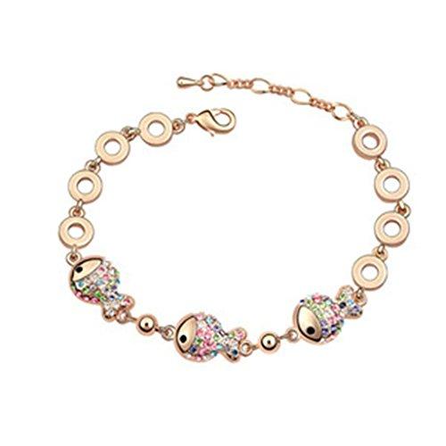 Beydodo Bracelet en Plaqué Or Rose Pour les Femmes (Chain-Bracelets),Cristal d'Autriche Forme de Poisson Coloré Oxyde de Zirconium 18CM