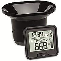 TFA Dostmann Pluviómetro inalámbrico Drop, medición fácil de Las precipitaciones, transmisión inalámbrica, Alarma de Lluvia 24 h