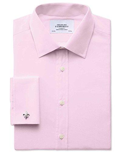 Slim Fit Hemd aus Fil-à-Fil in rosa rosa (Knopfmanschetten Cuff)