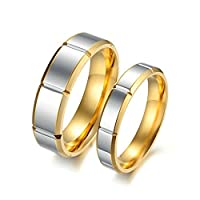 6MM/4MM Stainless Steel Couple Wedding Rings Set 2PCS Comfort Fit Silver and Gold Size L 1/2 & Men Size R 1/2