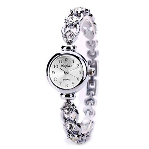 Kakiyi Strass-Dekor-Frauen-Uhr-Armband-Quarz-runde geformte Kette Armband Mädchen-Armbanduhr