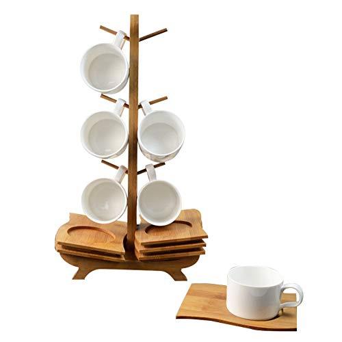 CLX stapelbare Espressotassen Set aus Porzellan Kaffeetassen mit Untertasse und Metallständer, Pastellfarben, einfarbig, Beige/Creme, Protokoll, L