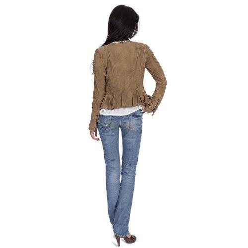 Super Veste en cuir Veste en velours de Chèvre Bike Femme Souple Taille XS à XL Beige