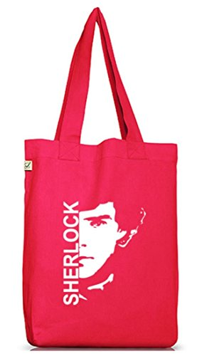 Shirtstreet24, SHERLOCK, Jutebeutel Stoff Tasche Earth Positive (ONE SIZE) Hot Pink