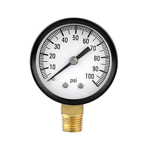 """BIlinli 0-100 PSI 1/4\""""Brunnenpumpe Pool Spa Filter Wasser Manometer Niedrige Blei-Seitenmontage"""