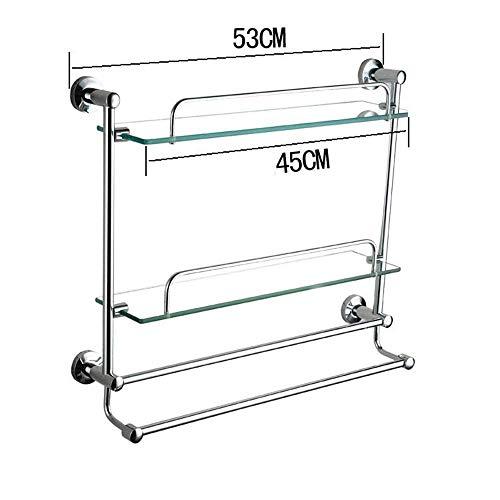 DEED Wandbehang Mount Rack Toilette Regal Badezimmer Glas Regal Single Boden Badezimmer Hardware Gehärtetem Glas Regal Lagerregal,53 cm -