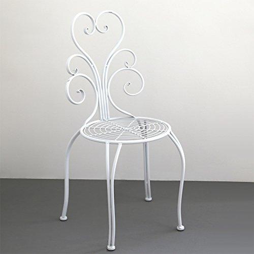 Gartenstuhl Set NOSTALGIE Weiß Aus Metall Romantisch Verzierte Stühle