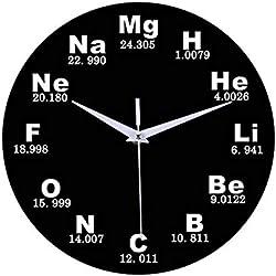 DFRTY 1 Pieza Elemento químico Tabla periódica Disco de Vinilo Reloj de Pared Química Matemáticas Fórmula Ciencia Friki Gráfico