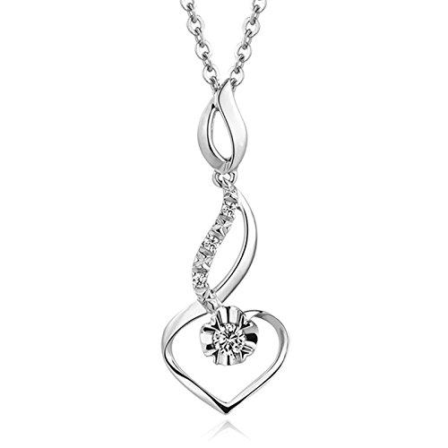 KnSam Orecchino Pendente Donna 18k Cuore Tortuoso con Diamante 0.05ct, 0.62g, 1pc Argento