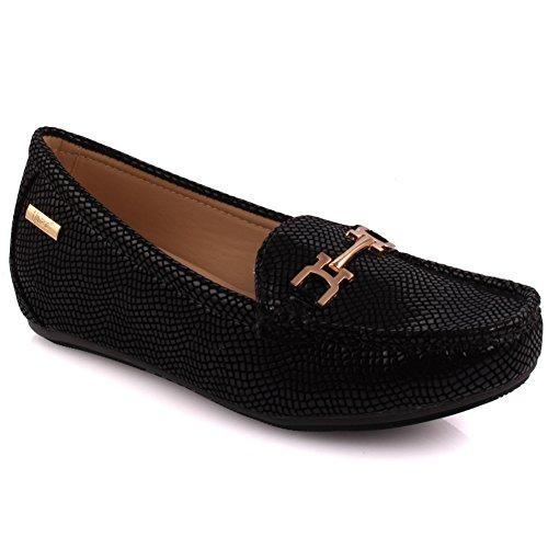 Unze Damen Passo Strukturierte Schickem Design Flats Slipper Babe Bequeme Mokassins Schlupf An der Pumpe Loafer Schuhe Größe 3-8 - MT81732A (Babe Design)