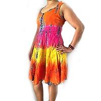 AASh Ladies New Floral Summer Frock Skater Mini Sleeveless Sweetheart Dress Gypsy (Orange/Pink/Yellow)