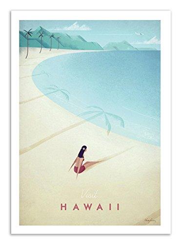 Art-Poster - 50 x 70 cm - Hawaii Paradise Island - Travel - Style Vintage - Henry Rivers -