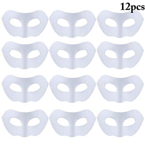 e Weiss DIY Unlackiert Weiße Maske Unbemalt Maskerade Maske DIY Dekoration Maskenball Party Masken Bemalen Karneval Cosplay Kostüm Kindertag Geschenk für Kinder Frauen Männer ()