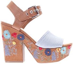 Guess Sandalias de las mujeres en azul y marrón de tela de gamuza con estampado de flores bordado en el talón y la plataforma. La fijación de la correa del tobillo. DQO. TAMAÑO 40 FLCAA1DEN03
