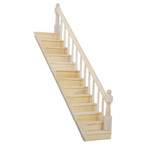 SODIAL(R) Maison de Poupee Escalier en Bois Limons d'Escalier Etape Rampe Droite Pre Assemble