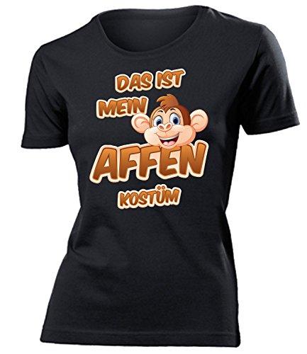 Affen Kostüm Kleidung 5255 Damen T-Shirt Frauen Karneval Fasching Faschingskostüm Karnevalskostüm Paarkostüm Gruppenkostüm Schwarz XL