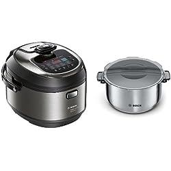Bosch MUC88B68ES AutoCook + Olla extra - Robot de cocina multifunción, 1200 W, 5L, acero inoxidable, función presión y calentamiento por inducción