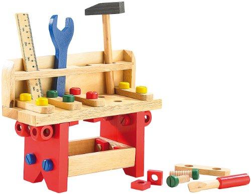 Playtastic Kinder Werkbank: Lustige Holzwerkbank für kleine Handwerker, 51-teilig (Kinder...