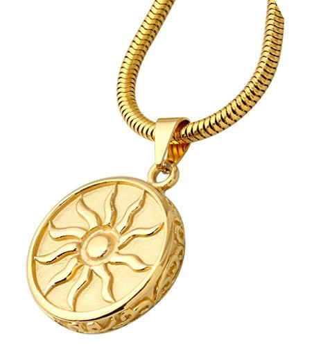 Beydodo Edelstahl Halsketten Für Herren (Anhänger Halskette), Kreis Münze Sonnengott Symbol 2.5*2.5 cm (Jesus Kostüme Baby)