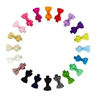 2 Inch Tiny Hair Bows Clips Fully Lined for Baby Girls Fine Hair Infants 20pcs