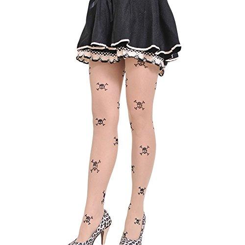 Demarkt Damen Gemustert Strumpfhosen Muster Strümpfe Strumpfhose Damen Strumpfhose Blumen Strümpfe Tattoo One Size (Schädel)