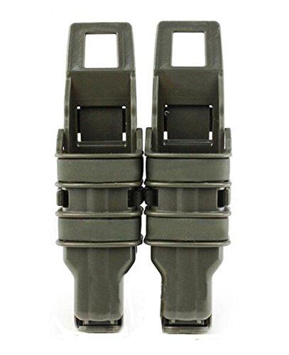 haoYK Taktische Airsoft Fast Mag Pistole Duty Gürtel DOUBLE Magazin Holster Pouch Set (OD Grün)