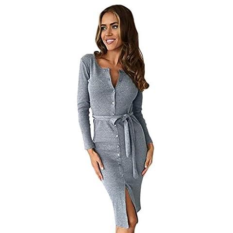 Femme Robe Trapeze , Tonwalk Femme Manche Longue Laçage Robe Moulante Package Hanche (XL, Gris)
