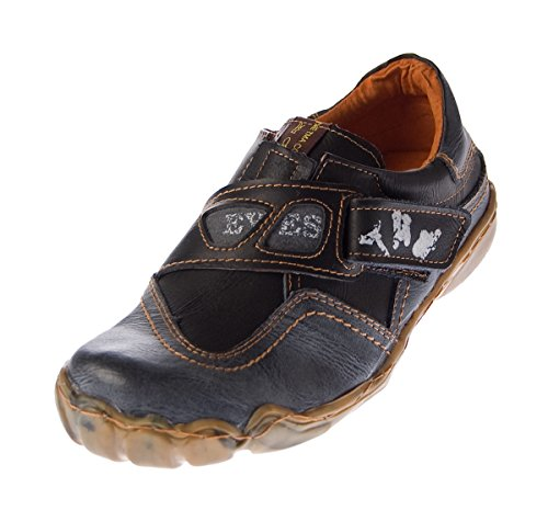 Damen echt Leder Comfort Schuhe TMA 1901 Halbschuhe Slipper viele Farben Turnschuhe Sneakers Used Look Schwarz Grau