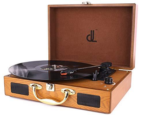 D & L Vinyl-Spieler mit 3 Geschwindigkeiten 33/45/78 Tragbarer Vintage Holz Koffer Plattenspieler mit eingebauten Stereo-Lautsprechern, PC-Recorder, Kopfhöreranschluss, Cinch-Line Out (639PW-2) - Holz Vinyl Plattenspieler