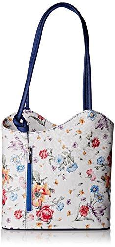 Damen 80056 Schultertasche, Mehrfarbig (Fiori/Bluette), 27x30x9 cm Chicca Borse