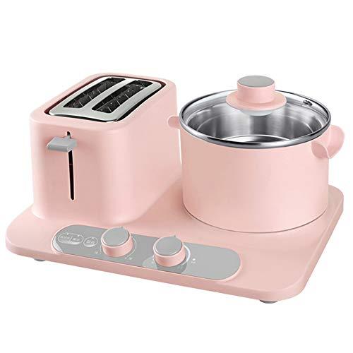YHSFC Elektrischer Brotröster Backofen Mini multicooker Sandwich backen Eierkocher Dampfgarer Omelettpfanne Frühstück Maschine braten,Rosa